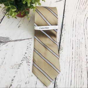 🆕NEW Calvin Klein Men's Silk Tie Brown Tan Blue